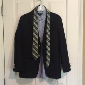 Boys size 14 jacket shirt and tie set.